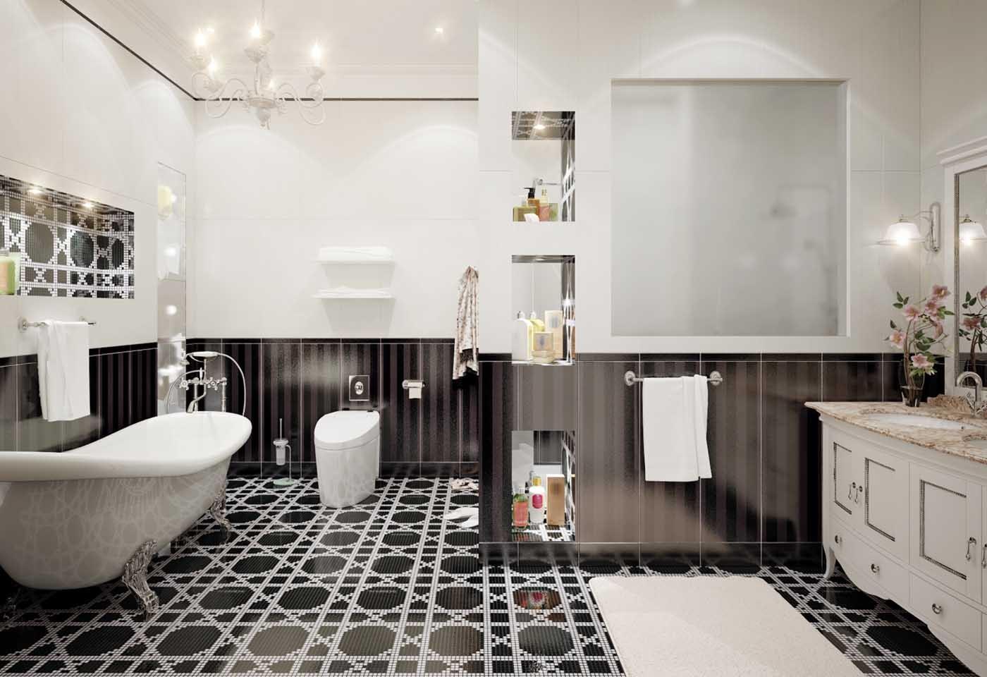 Il bagno in bianco e nero